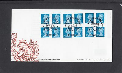 GB 2016  Machin Definitive 12 x2nd stamp M16L MSIL booklet new font cyl W1 FDC