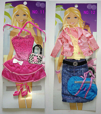 Fashion 2 PCS Clothes / dress for Barbie Doll Toys No.6 Barby