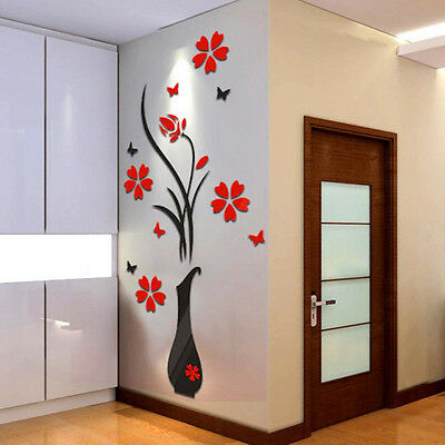 DIY Vase Flower Tree Crystal Arcylic 3D Wall Stickers Decal Arcylic Home Decor A