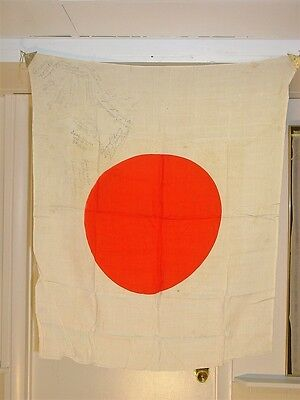 Wwii Japanese Army Rising Sun Meat Ball Pennant Banner Flag W/ 14 Gi Signatures
