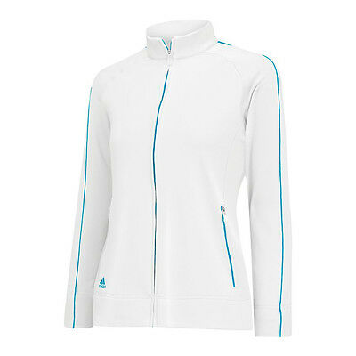 NEW Lady Adidas 3-Stripes Piped Jacket White Solar Blue Size Small Womens