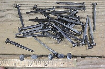 "2"" Rose head nails 30 in lot antique old square wrought iron rustic vintage look"