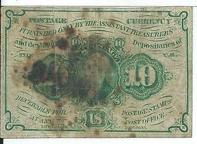 First Issue Ten Cents United States Fractional Obsolete Currency Fr1242