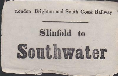LBSCR Railway Luggage Label SOUTHWATER (SLINFOLD)