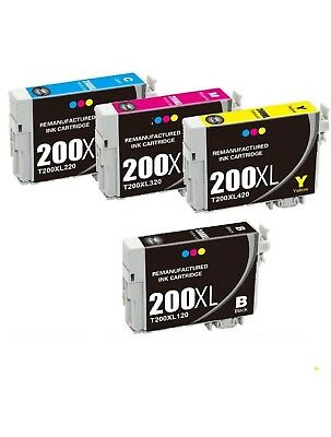 4-Pack/Pk T200XL Ink For Epson WorkForce-2520 2530 2540 XP-200 300 310 400 410