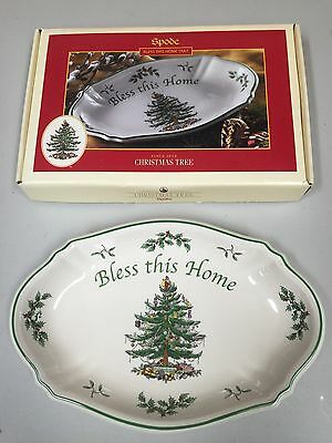 """NEW SPODE Bless This Home Christmas Tree Tray 11"""" 28cm"""