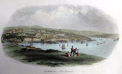 FALMOUTH  CORNWALL  GENUINE ANTIQUE STEEL ENGRAVING WITH HAND COLOUR c1832