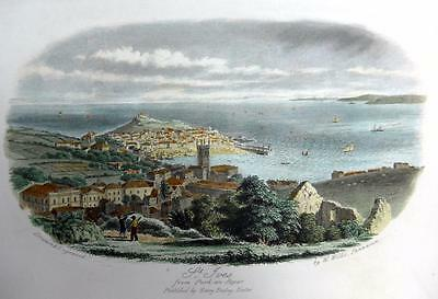 ST IVES  CORNWALL  GENUINE ANTIQUE STEEL ENGRAVING WITH HAND COLOUR c1832