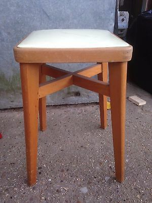 Vintage Retro Old Square Yellow PVC Seat Solid Wooden Stool