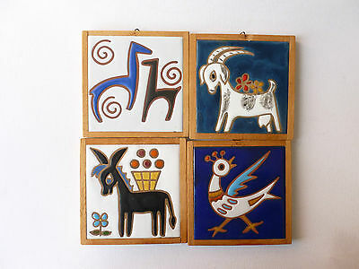 Set of 4 Framed Italian Decorative Tiles Ready to Hang
