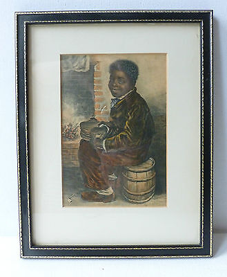 "Old Framed Print by George Baxter ""Me Warm Now"""