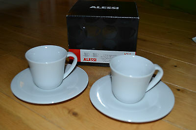 Alessi KU Mocha Espresso Cups and Saucers (x2) BRAND NEW Boxed