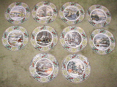 Vintage Adams China England Winter Scenes Set 10 Dinner Plates Currier 1920s