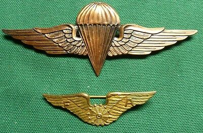 Unknown Foreign Pilot & Airborne Paratrooper Wings Badges - No Reserve