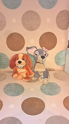 2 x 6-7 inch tall Disney Lady and the Tramp  SOFT TOYs