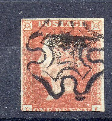 GB Victoria  Used SG 8 1d red with Black maltese Cross