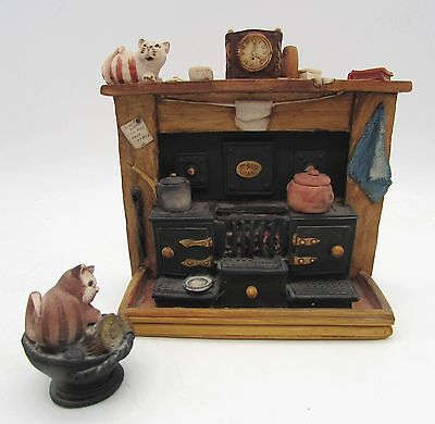 Fagan KITCHEN RANGE + COAL SCUTTLE Colourbox CAT Old Fashioned COOKING Fireplace