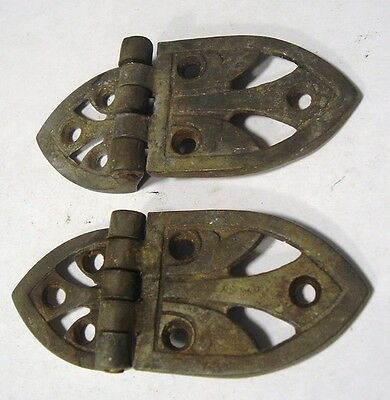 Antique Pair Solid Brass Off Set Ice Box / Chest Hardware Hinges