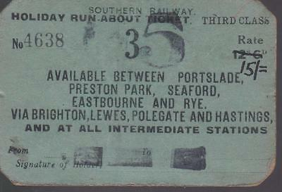 Southern Railway HOLIDAY RUNABOUT Ticket AREA 3 4638