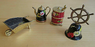 4 miniature tole painted Romany style brass/metal items incl bell