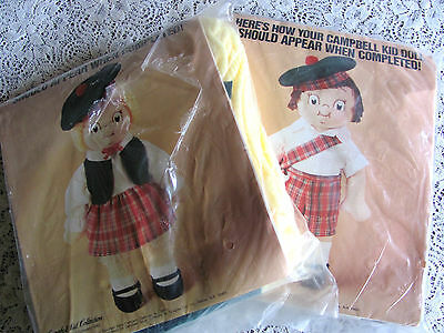 Lot of 2 Campbell Soup Kid Doll Kits -- 1982 -- New With Damaged Packaging