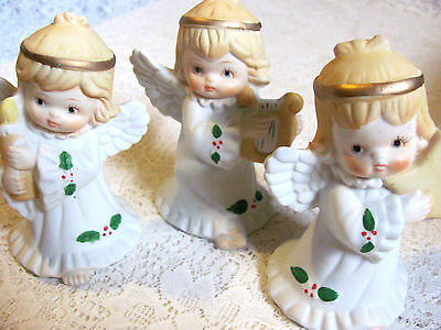 Set of Three Christmas Angels-- 4 1/2 Inch Tall -- Unmarked