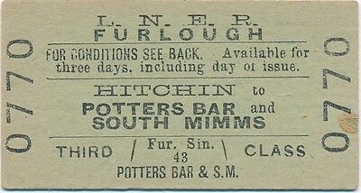 LNER - HITCHIN to POTTERS BAR and SOUTH MIMMS railway ticket 0770