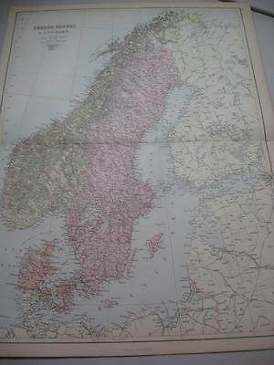 1880s Blacks Atlas Map Sweden Norway Denmark 60x46 cm 2 page fold to center