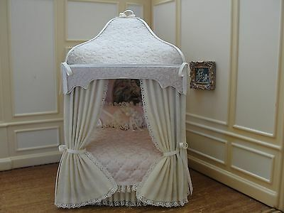 Artisan Ivory & Pink Canopy Bed  - Dollhouse Miniature  Exquisite Bed!