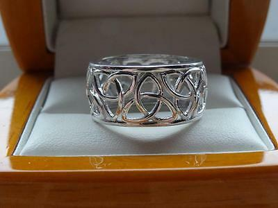 925 SILVER CELTIC DESIGN WIDE BAND RING - SIZE R  - 3.9g - NEW