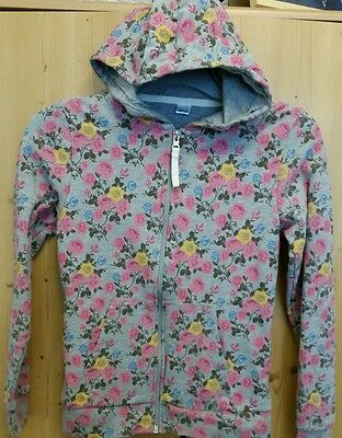 GIRLS HOODIE Top, Pale Grey/PRETTY FLORAL, Age 10-12 Years, Warm, Cosy - NEW