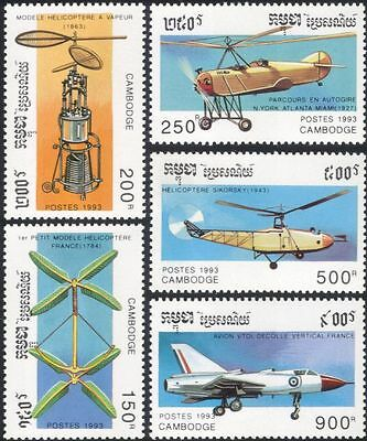 Cambodia 1993 Aviation/Aircraft/Planes/Helicopters/Transport 5v set (b8027)
