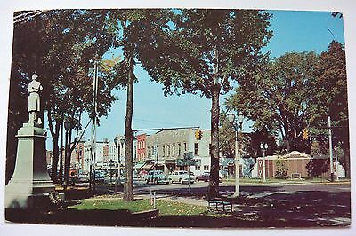 Postcard Street & Statue in Front of Court House Grounds Coldwater Michigan PM