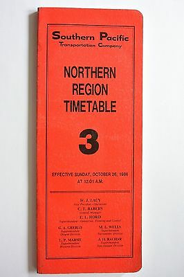 Southern Pacific Railroad Northern Region Employee Timetable #3 1986