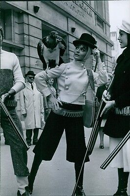 Vintage photo of A photo of a model wearing Jacques Esterel design collection. 1