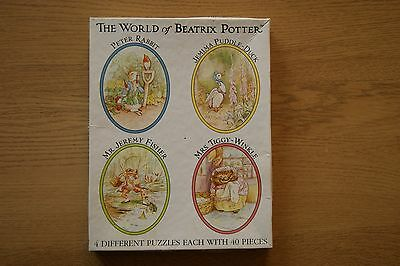 World of Beatrix Potter 4 oval shaped jigsaw puzzles 40 pieces each