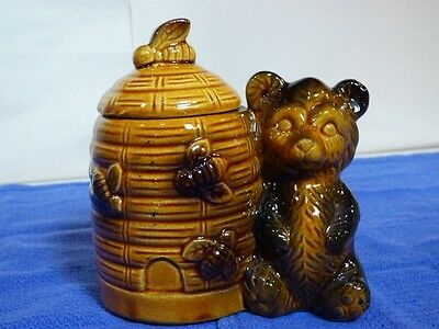 Vintage Hand Painted Antique Noritake Bee Hive Honey Pot Jar w/ Bear 3A