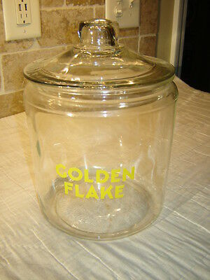Vintage Original Country Store Cracker Jar: Golden Flake - With Lid - One Gallon