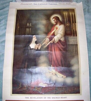 Vintage Religious Poster The Revelation of the Sacred Heart