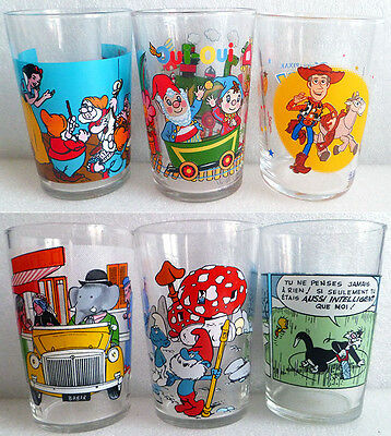 6 verres (Bl. Neige, Oui Oui, Toy Story, Babar, Stroumpf, Titi et Gros Minet)
