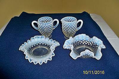 Beautiful Lot of 4 pieces of Fenton Hobnail French Blue Opalescent