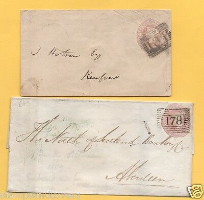 1847/1856  Penny Pink Covers, SCOTTISH NUMERALS, 131-EDINBURGH+178-HUNTLY + MORE