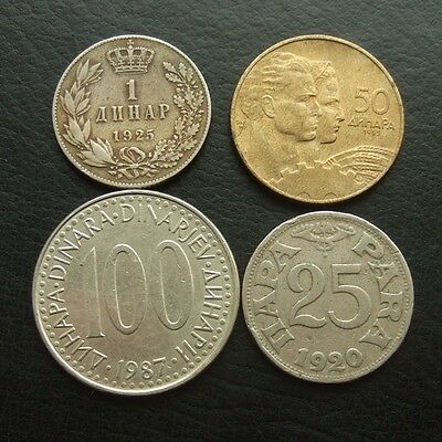 Yugoslavia 4 Coins Dated 1920 - 1987 : All Different Types