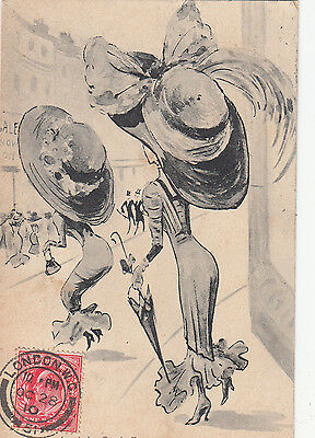 AN UP TO DAT SACK RACE  HOBBLE SKIRT HUMOUR pu 1910