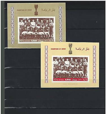 AJMAN, Stamps, SOCCER, Sports, ENGLAND, Mint NH - IMPERFORATE