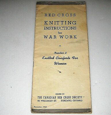 WW2 Home Front WAR WORK KNITTING INSTRUCTIONS Red Cross CANADA