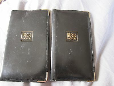 2 vintage Rolls Royce Motors collectable leather wallets / document card holders