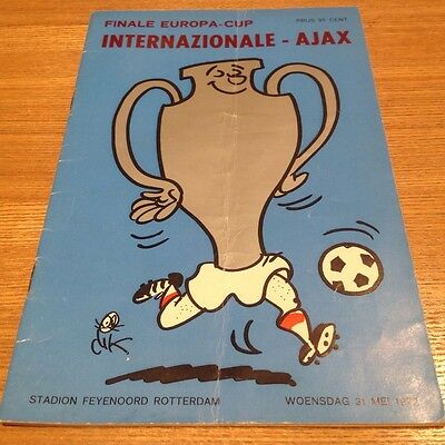 1972 European Cup Final Programme Inter Milan V Ajax Rare!