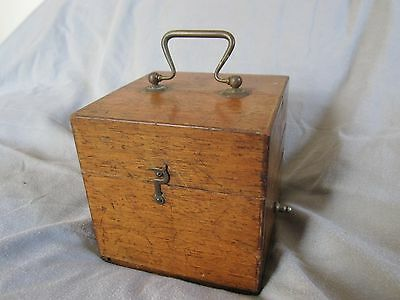 Antique patinated wood box old scientific instrument medical electric therapy