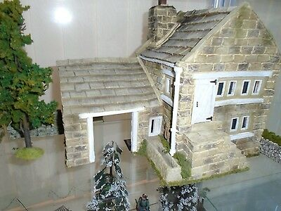 Farm House And Out Building Diorama Fencing Walls And Tree